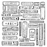 Books Collection Monochrome Inky Outline Stock Images