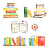 Books collection. Set of books icons made in watercolor technique, school, university, modern, vintage books collection Royalty Free Stock Photography
