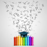 Books color with flying letters Royalty Free Stock Images