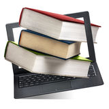 Books Coming Out Computer Laptop Education Isolated. Stack of books coming out from computer laptop display on white background stock photography