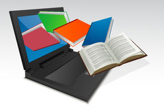 Books coming out from laptop Royalty Free Stock Images