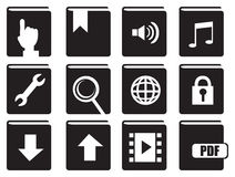 Books with Computer Icons Vector Icon Set Royalty Free Stock Photo