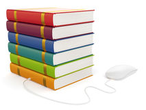 Books with computer mouse Stock Image