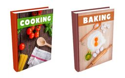Books - Cooking and Baking. Books on cooking and baking stock illustration