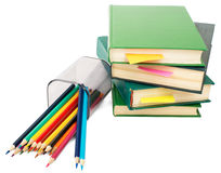 Books with crayons Royalty Free Stock Images
