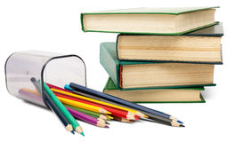 Books with crayons Royalty Free Stock Photo