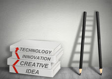 Books creative, idea, tecnology, innovation and Ladder from penc Stock Photo