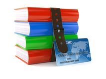 Books with credit card. Isolated on white background. 3d illustration Royalty Free Stock Photos