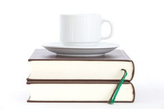 Books and cup of coffee Stock Photo