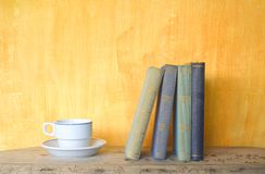 Books and a cup of coffee Royalty Free Stock Images