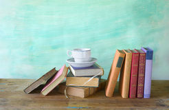 Books with a cup of coffee Royalty Free Stock Photography