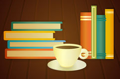 Books and cup of coffee on the table Stock Images