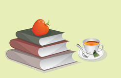 Books and Cup of Tea illustration Royalty Free Stock Image
