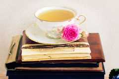 Books with cup of tea Royalty Free Stock Images