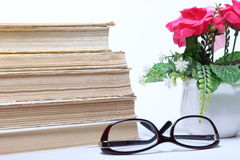 books den gammala bunten exponeringsglas och blommor i kruka Royaltyfri Bild
