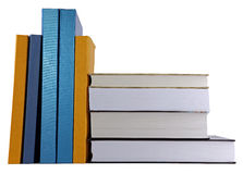 Books on the desk. Over white background Stock Photo