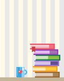 Books on desk. Back to school. Education objects Stock Images