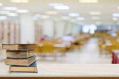 Books on desk in library at the elementary school. Copy space top marble table in library Royalty Free Stock Image