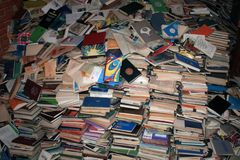 Books on destruction - recycled paper 10,000 books. Secondary raw materials culture history recycling paper Royalty Free Stock Image