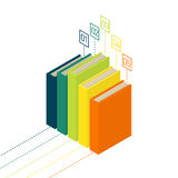 Books diagram infographic. Isometric flat vector. Books diagram infographic. New 3d colorful books and tutorials. Isometric flat classbooks and textbooks icon Royalty Free Stock Photography