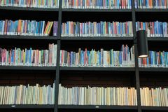 Books in different colours on the shelves in the library. A lamp and many books in different colours on the shelves in a part of the municipal library Royalty Free Stock Photography