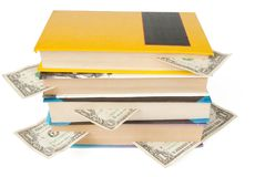 Books with dollar bookmarks Stock Photos