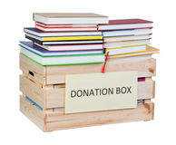 Books donations box Royalty Free Stock Images