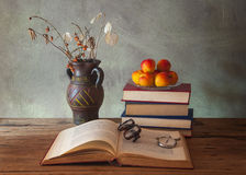 Books and dried flowers Royalty Free Stock Image