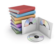 Books and Dvd. This is a computer generated and 3d rendered picture Royalty Free Stock Photo