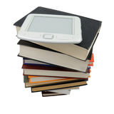 Books e. Stack of books with electronic book on it stock image