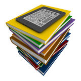 Books and e-book. 3d render of reader of books and electronic book over white background Royalty Free Stock Photography