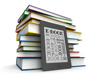 Books and e-book. 3d render of reader of books and electronic book over white background Stock Image