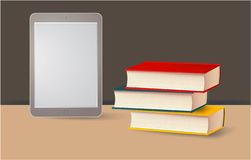 Books and E-Book on the table, vector royalty free illustration