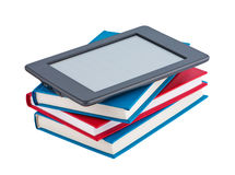 Books with e-reader. Stock Photo