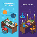 Books And Education Banners Set Royalty Free Stock Images