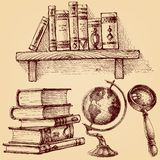 Books and education set. A wooden shelf of books, earth globe, magnifying glass, stack of various books stock illustration