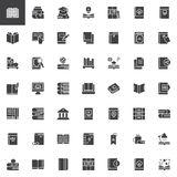 Books and education vector icons set vector illustration