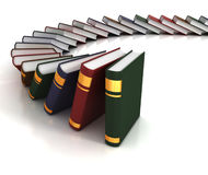 Books falling like dominoes. 3d concept Royalty Free Stock Images