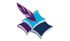 Books and Feather. Logo Design Template Vector Stock Photo