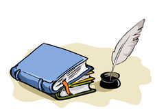 Books and feather-pen. Illustration of three books and a feather-pen with copy space vector illustration