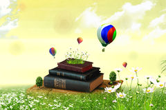 Books on the field. With trees and flowers Royalty Free Stock Photo