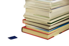 Books and flash card. Pile of books and flash card near to them. On a white background Royalty Free Stock Photography