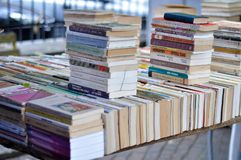 Books on the flea market Royalty Free Stock Image