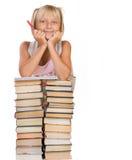 books flickaskolan royaltyfri bild