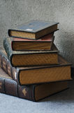 Books on the floor. Old books on the cement floor royalty free stock photography