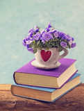 Books and flowers Stock Photography