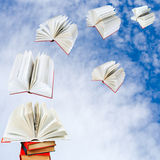 Books fly out of pile of books Stock Photo