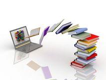 Books fly into your laptop. 3d render illustration Stock Photos