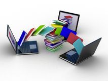 Books fly into your laptop Stock Photo