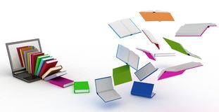 Books fly into your laptop Royalty Free Stock Images